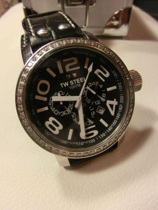 Tw Steel Twsteel Damenuhr Chronograph Schwarz Lederarmband Bild