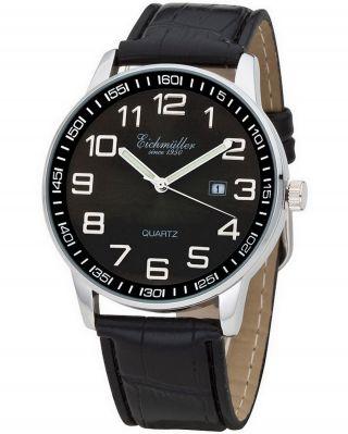 Klassische 43 Mm Xl EichmÜller Uhr Herrenuhr Fliegeruhr Leder Datum Schwarz Bild