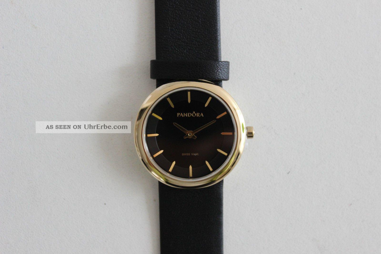 pandora pure damenuhr armbanduhr uhr schwarz gold. Black Bedroom Furniture Sets. Home Design Ideas