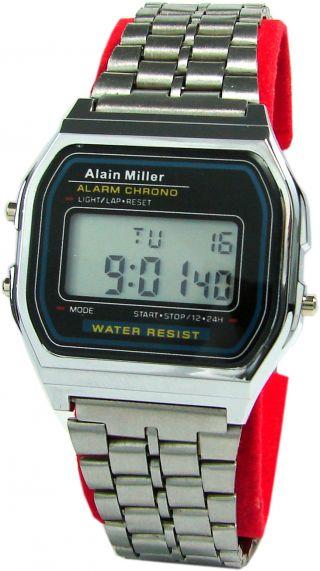 Alain Miller Lcd Alarm Chrono Stopuhr Tag Datum Licht Retro Design Unisex Uhr Bild
