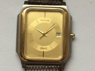 Schöne Milus Unisex Quarz Armbanduhr (ungetragen). Bild