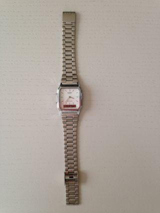 Casio Uhr Armbanduhr Silber Edelstahl Digital Und Analog Retro Bild