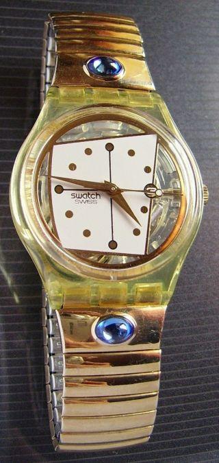 ♥♥ Goldene Skelett Swatch Mit Blauen Glitzersteinen ♥ Gold Blau Damen Uhr ♥ Bild