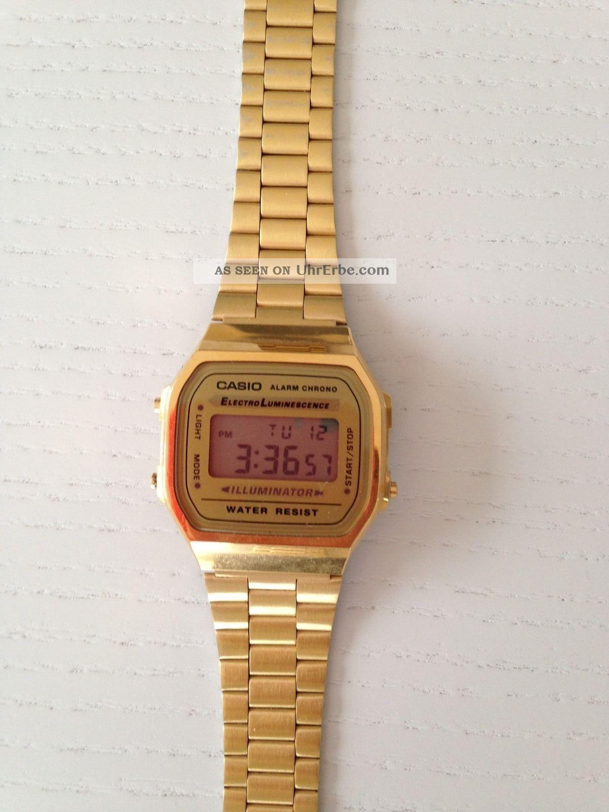casio uhr armbanduhr gold edelstahl digital retro. Black Bedroom Furniture Sets. Home Design Ideas