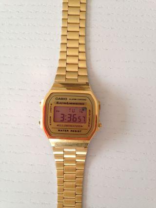 Casio Uhr Armbanduhr Gold Edelstahl Digital Retro Bild