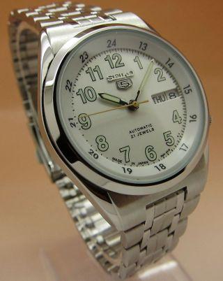 Seiko 5 Snk579 Durchsichtig Automatik Uhr 7s36 - 02c0 21 Jewels Datum & Tag Bild