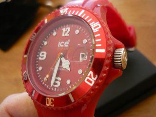 Wie,  Ice Watch Rot Silikon Armband Uhr Datum Damen Kinder Sport Bild