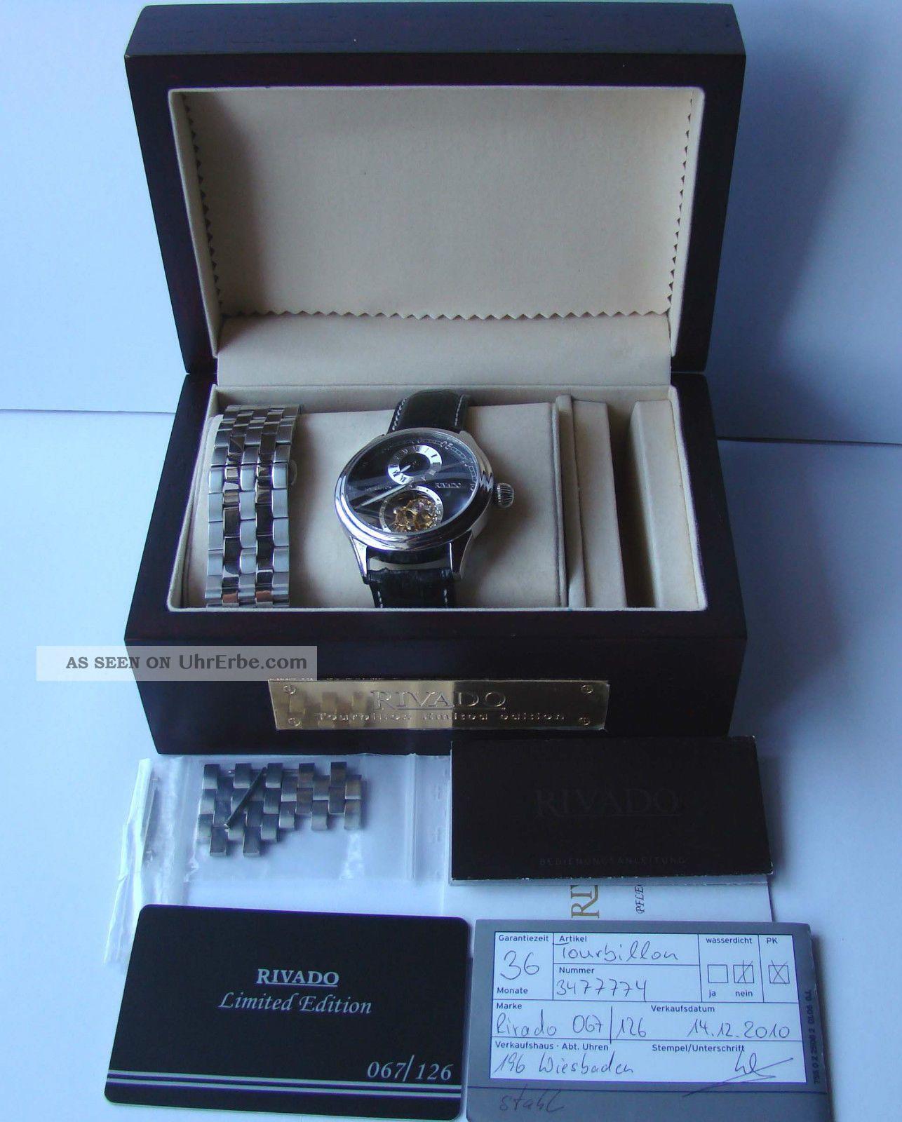 Rivado Uhr Regulatuer Mit Echten Tourbillon Limited Edition Neuwertig Box Papier Armbanduhren Bild