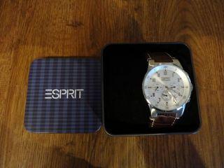 Esprit Es000t31021 Uhr Herrenuhr Equalizer Silver Chrono Lederarmband Braun Bild