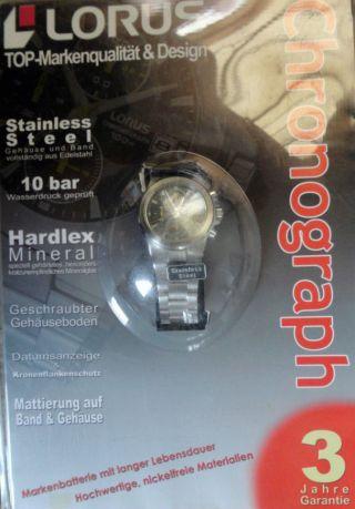 Lorus Herren Uhr Armbanduhr Chronograph 10 Atm Edelstahl Mineralglas Wasserdicht Bild
