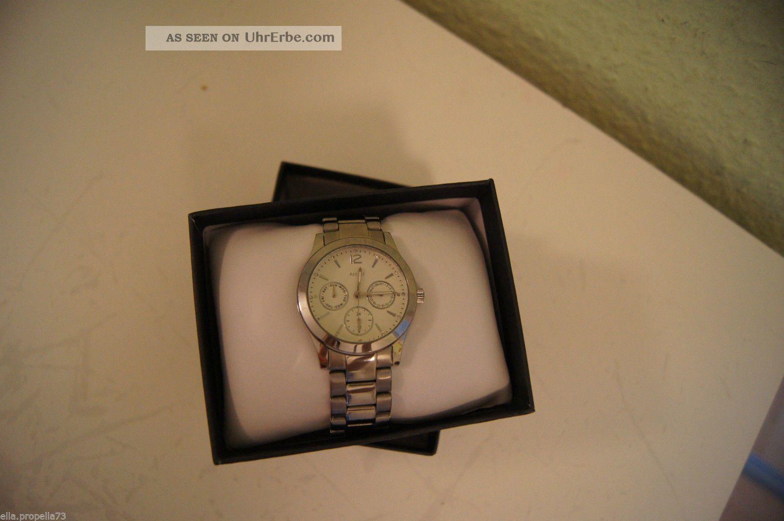 tcm tchibo edelstahl armbanduhr uhr silber chronograph. Black Bedroom Furniture Sets. Home Design Ideas