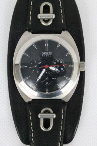 Guess Herren Armbanduhr Uhr Leder Edelstahl Schwarz Bild