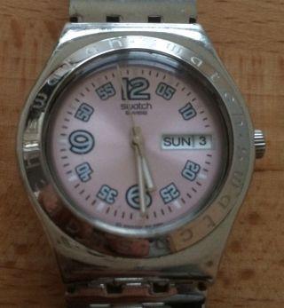 Swatch Irony Armbanduhr Rosa Zifferblatt Neuwertig Bild