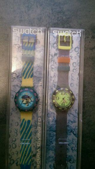 Swatch Uhren Scuba 2 Stk In Ovp Sammlerstück Bild