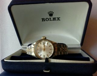 Rolex Oyster Perpetual Date Automatik Damenuhr Stahl/gold Mit Ovp Bild
