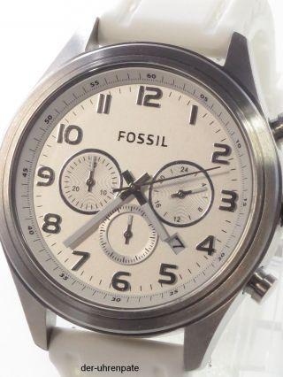 Fossil Herrenuhr / Herren Uhr Silikon Chronograph Datum Weiß Silber Bq1032 Bild