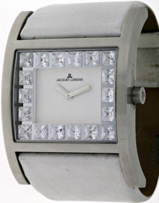 Modische Jacques Lemans Venice Oversize 1 - 1482 White Damen Armbanduhr Edelstahl Bild