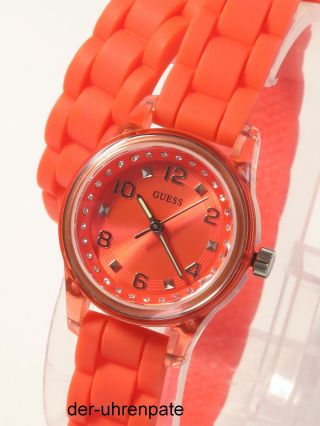 Guess Damenuhr / Damen Uhr Silikon Orange Strass Wickelarmband W65023l4 Bild