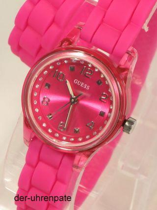 Guess Damenuhr / Damen Uhr Silikon Rosa Strass Wickelarmband W65023l3 Bild
