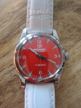 Schöne Rodania Uhr,  Handaufzug,  17 Jewels,  Uhren - Klassiker,  Orange - Rot Bild