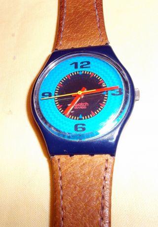 Swatch Armbanduhr No.  5742 Mit Orig.  Lederarmband Bild