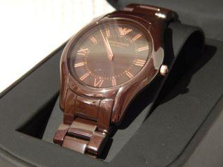 Emporio Armani Damenuhr Damen Uhr Ceramic Keramik Braun Rose Gold Ovp Ar1445 Bild