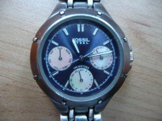 Fossil Steel Fs - 2598 Chronograph,  Damenuhr,  Armbanduhr,  Mit Perlmutt,  Marineblau Bild
