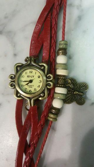 Vintage Damen Leder Armband Uhr Eule Mit Geschenk Verpackung Samt Säckchen Bild