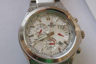 Casio Chronograph Edifice Ef - 526 Herrenuhr 10 Bar 100 M Silber Bild