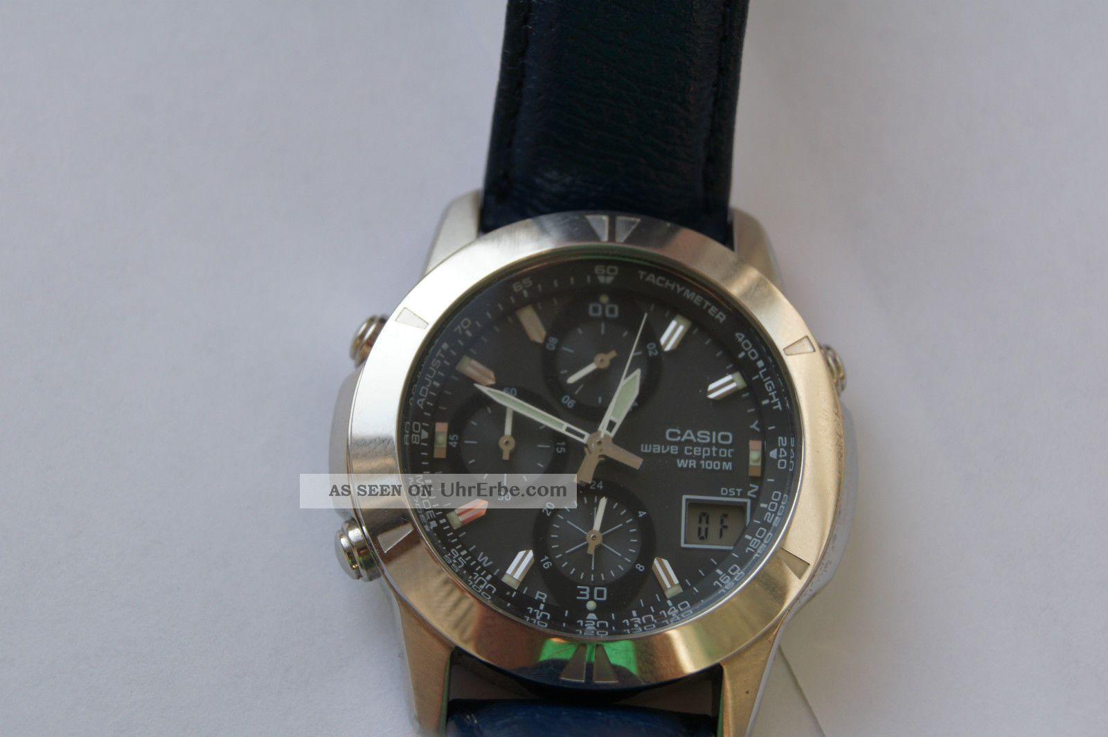 Casio Herrenuhr Funkuhr Wvq560le - 8aver Armbanduhr 10 Bar Lederarmband Armbanduhren Bild