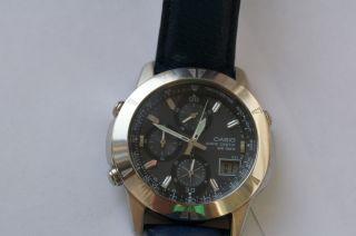 Casio Herrenuhr Funkuhr Wvq560le - 8aver Armbanduhr 10 Bar Lederarmband Bild
