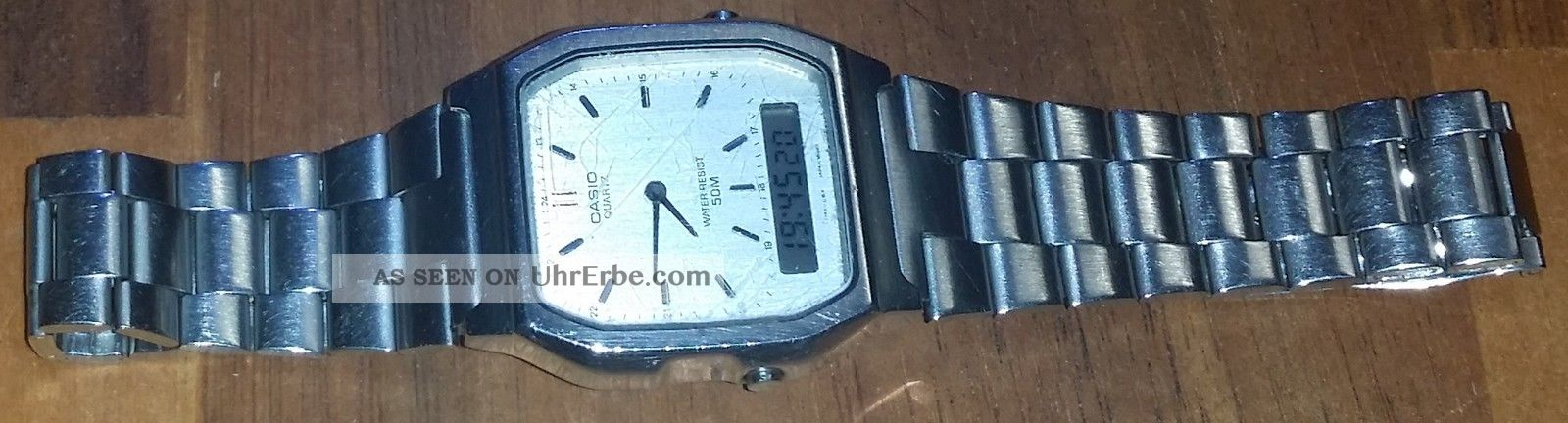 Casio Aq - 224w - All Stainless Steel - Made In Japan - Funktioniert Einwandfrei Armbanduhren Bild