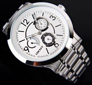 Dkny Ny1378 Elegante Herren/damen Chronograph Armbanduhr Silber Weiss,  Wie Bild