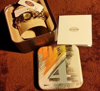 Weihnachten Fossil Damenuhr Uhr Armbanduhr Gold Goldene Armband Usa Box Bild