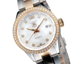 Tag Heuer Carrera Diamanten Damenuhr Automatik Gold Wv2451.  Bd0797 Ladies Watch Bild