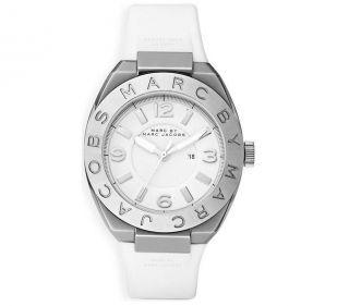 Marc Jacobs Uhr - Mbm Armbanduhr Silber Band Weiß Damenuhr - Bild