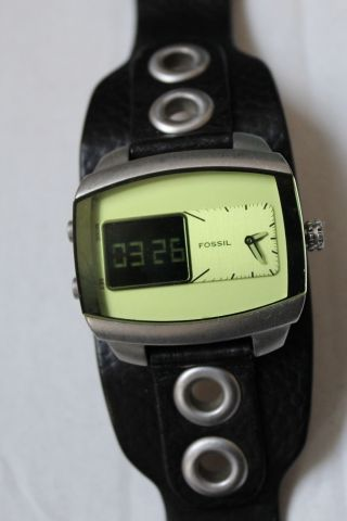 Fossil Jr 9766 Herren Armbanduhr Schwarz Analog Digital,  Grünes Display Wie Bild