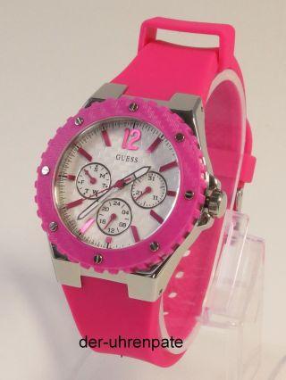 Guess Damenuhr / Damen Uhr Silikon Pink Datum Multifunktion W90084l2 Bild