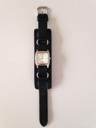 Fossil Uhr Lederuhr Armbanduhr Leder Schwarz Weißes Ziffernblatt - Kaum Getragen Bild