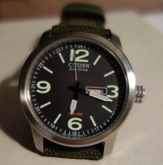Citizen Eco Drive Herren - Armbanduhr Xl Analog Quarz Nylon Grün,  Mit Bild