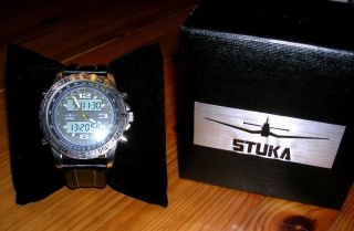 Stuka Visok Black Herrenuhr Edelstahl Leder Chronograph Digital & Analog Bild