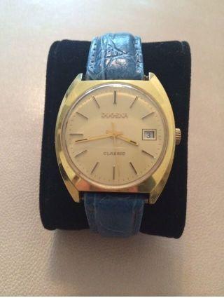 Dugena Armbanduhr Uhr Gold Blau Leder Bild