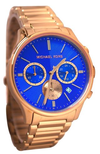 Michael Kors Damenuhr Mk5911 Chronograph Armbanduhr Blau Rosegold Bild