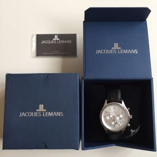 Jacques Lemans 1 - 1359 B Uhr Herren Schwarz Silber Watch 10 Atm Bild