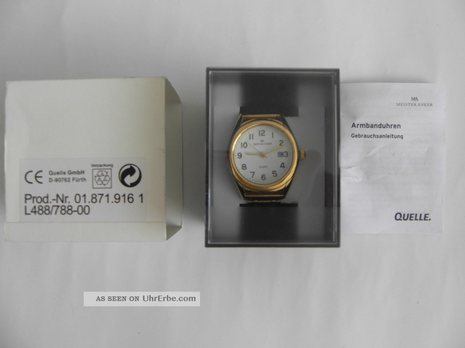 Herren Markemeister 129€ Anker Armbanduhr QuarzNeupreis 8PwO0nk