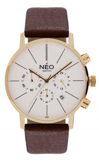 Neo Watch Minimalism Herrenuhr Chronograph Edelstahl Gold Datum N3 - 003 Bild