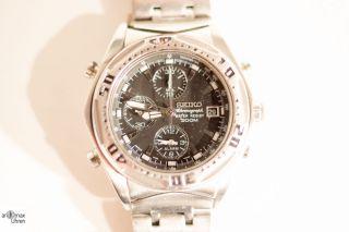Seiko Chronograph Uhr Armbanduhr Mit Alarm Und Stoppuhr 7t32 - 6l90 Bild