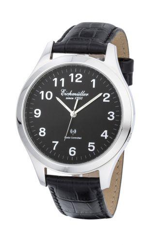 EichmÜller Funk Armbanduhr Herrenuhr Analog Dcf 77 Atom Uhr Signal Schwarz Bild