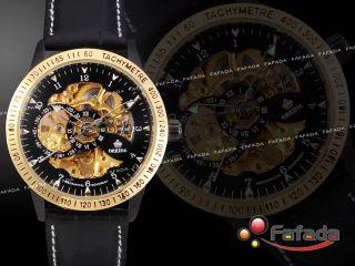 Orkina Mechanische Automatische Armbanduhr Herrenuhr Damenuhr Schwarz Leder Bild