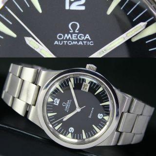 1974er Vintage Omega Seamaster Automatik Datum Stahl Herren Uhr Watch & Armband Bild